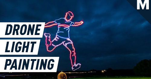 Drones create impressively gigantic light painting of a football player