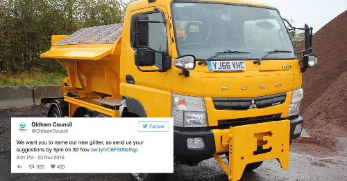 Local authority instantly regrets asking public to name new gritter
