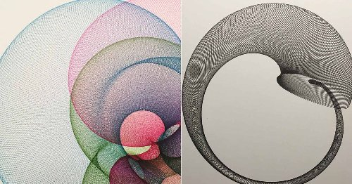 These handcrafted drawing machines create super precise geometric drawings that are so satisfying to watch