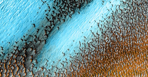 NASA releases stunning photo of beautiful blue dunes on Mars