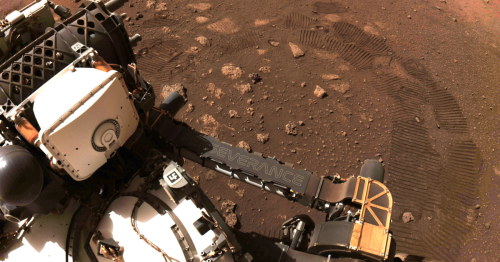 The Mars Perseverance shows off a picture of its first steps