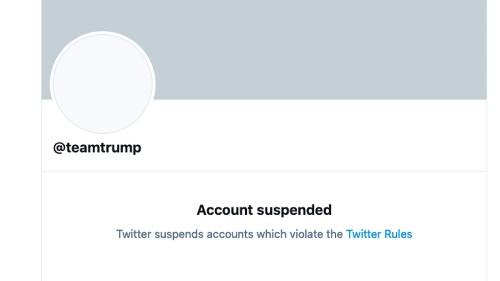Twitter permanently suspends @TeamTrump after string of Trump tweets