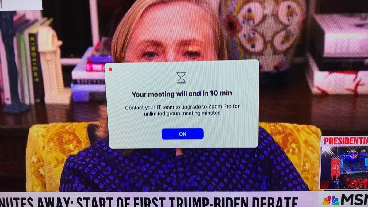 Hillary Clinton hitting a Zoom limit on TV is a 2020 mood