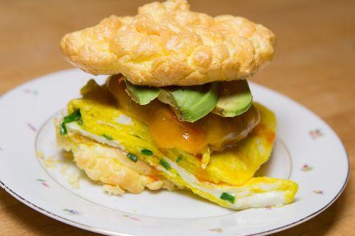 Cloud Bread Breakfast Sandwich