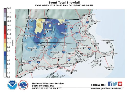 Nor'easter to bring 4 to 6 inches of snow to Central, Western Massachusetts