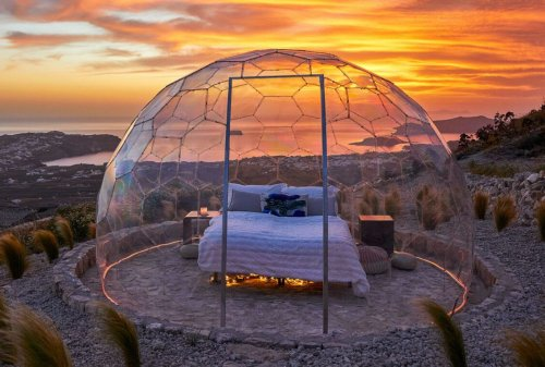 Santorini's new Sky Dome lets guests dine and sleep under the stars
