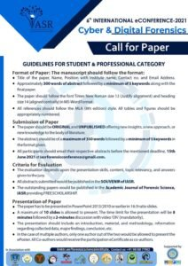 Cyber and Digital Forensics e-Conference to organize a Paper and e-Poster competition