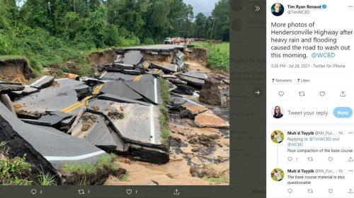 Highway crumbles following heavy rain in South Carolina, photos show