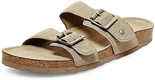 Taupe fabric flat sandal