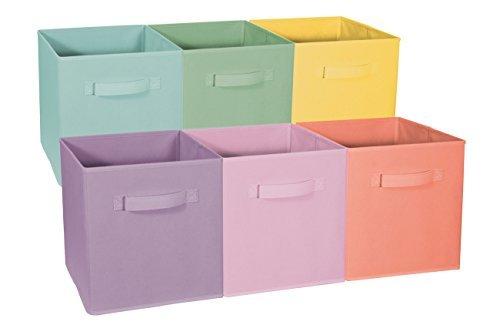 Pastel multi-color foldable cube baskets