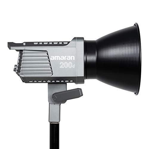 Amaran 200d LED Video Light, 250W CRI95+ TLCI96+ 65,000 lux@1m Bluetooth App Control 8 Pre-Programmed Lighting Effects DC/AC Power Supply, Made by Aputure