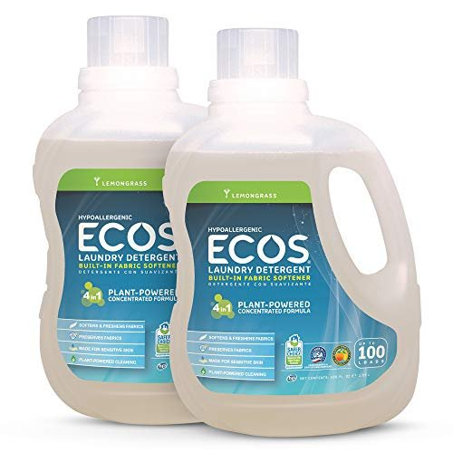 ECOS 2X Hypoallergenic Liquid Laundry Detergent, Non-Toxic, Loads, Lemongrass Lemongrass 100 Fl Oz (Pack of 2) Lemongrass 200.0 Fl Oz