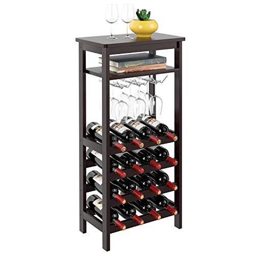 Bamboo wine rack and display shelf