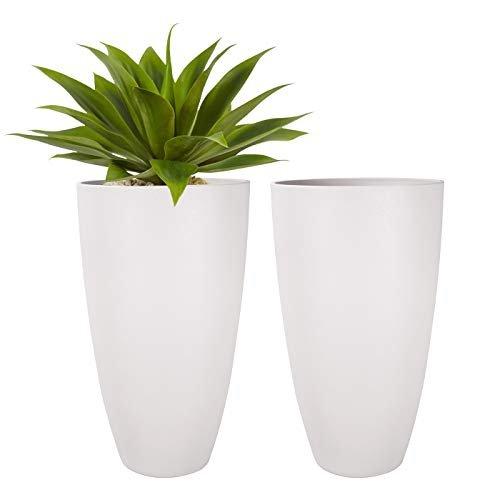 Tall white outdoor planter