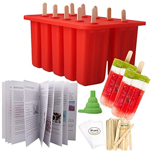 Homemade Popsicle Molds Shapes, Silicone Frozen Ice Popsicle Maker-BPA Free, with 50 Popsicle Sticks, 50 Popsicle Bags, Funnel and Ice Pop Recipes(