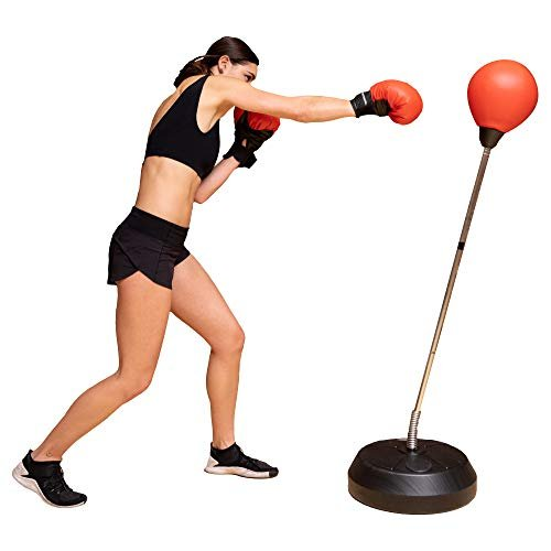 Adjustable punching bag with stand