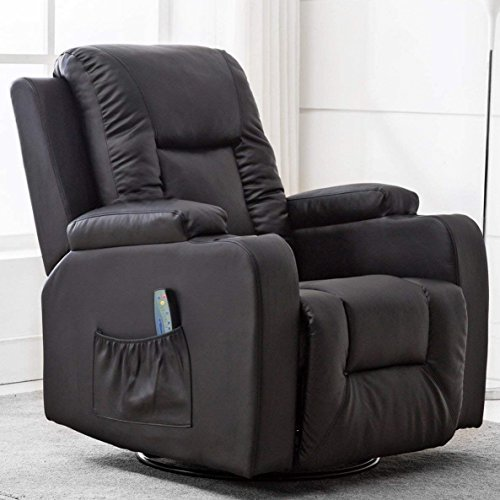 Leather recliner chair with heat and massage capabilities