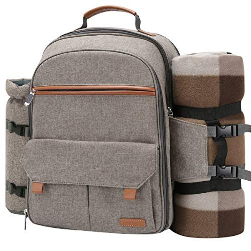 Picnic backpack with an insulated food compartment, bottle holder and blanket