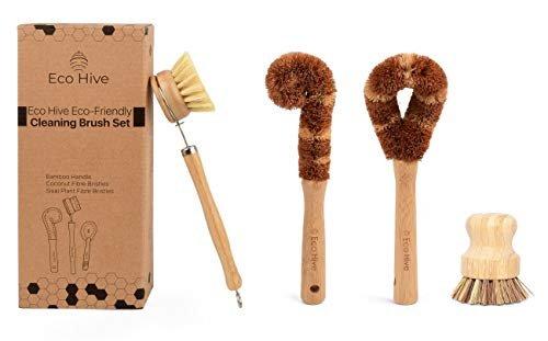 Natural bamboo dish scrub brush set