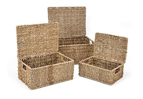 Rectangular seagrass baskets with lids
