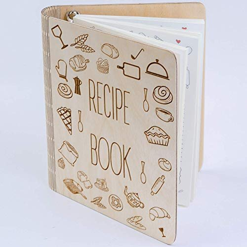 Personalized wooden recipe notebook