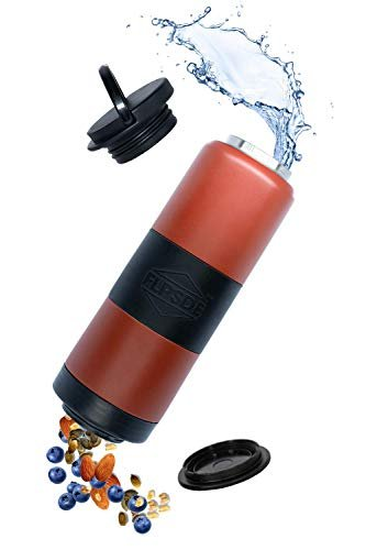 Dual chamber water bottle for drinks and snacks