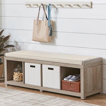 Entryway bench with storage boxes