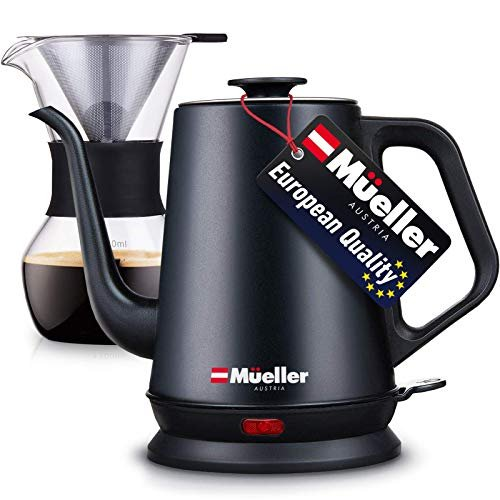 Electric gooseneck kettle with pour over drip set