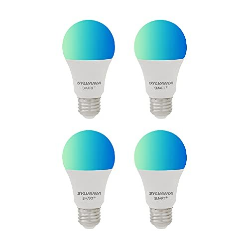 Four pack of dimmable smart LED color lightbulbs compatible with Alexa and Google Assistant