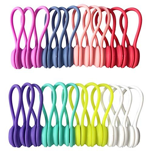 Reusable twist ties with strong magnets for cord organization