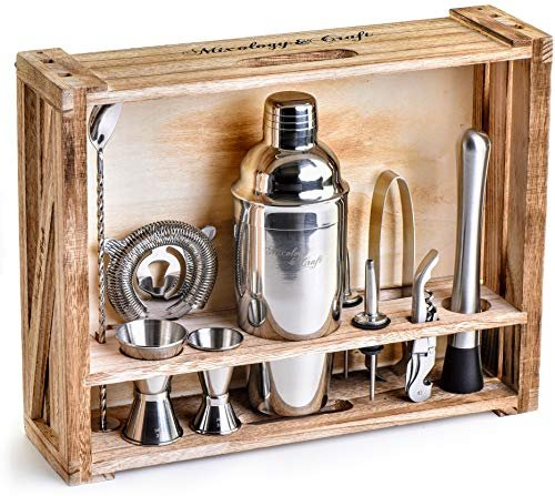 11-Piece Bar Tool Set with Rustic Wood Stand