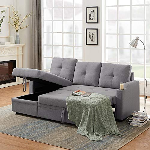Store blankets or pillows in this section sofa