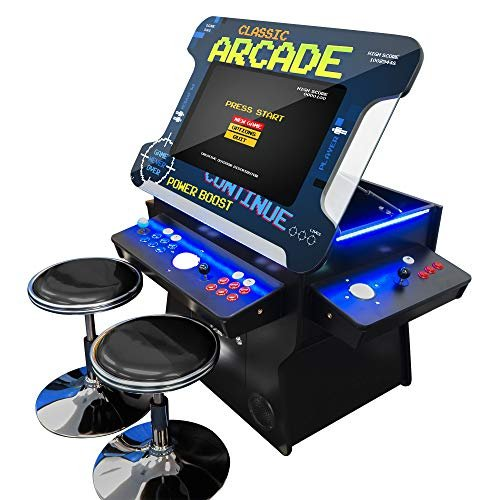 Commercial-grade arcade machine with 2 stools