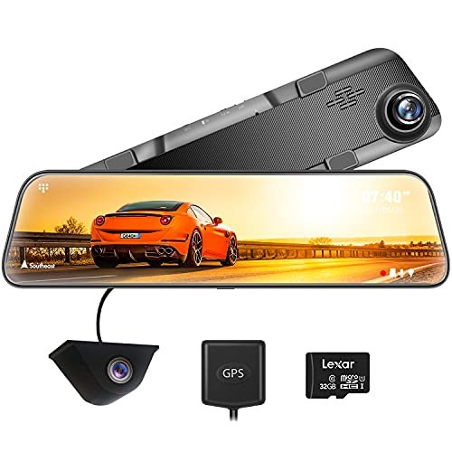 Mirror dash camera with touch screen