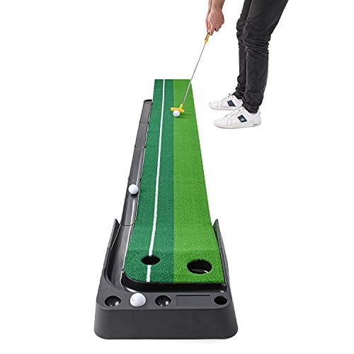 Indoor putting green with auto ball return