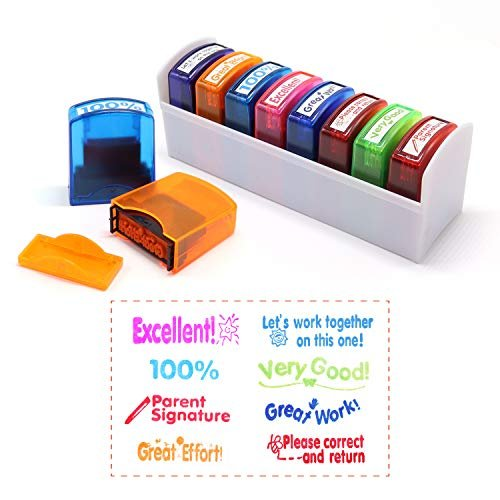 Colorful teacher stamp set and tray