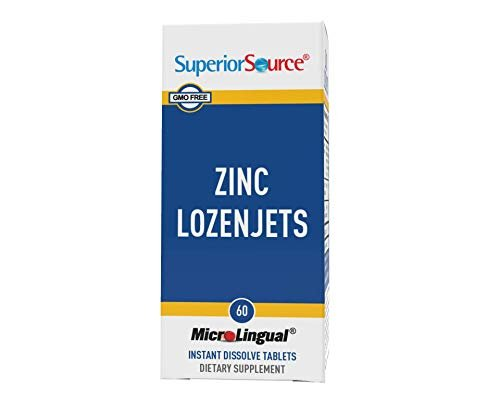 Superior Source Zinc Lozenjets, Zinc (5 mg), Vitamin C (15 mg), Under The Tongue Quick Dissolve Sublingual Tablets, 60 Ct, Supports a Healthy Immune System, Thyroid & Reproductive Health, Non-GMO