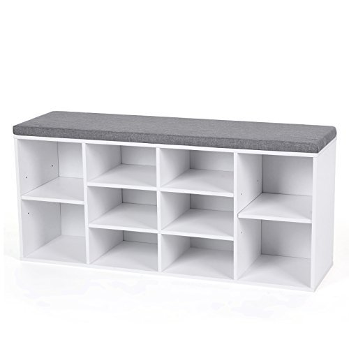 Cubbie shoe cabinet with bench cushion