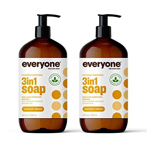 Everyone 3-in-1 Soap: Body Wash, Bubble Bath, and Shampoo, Coconut and Lemon, 32 Ounce, 2 Count- Packaging May Vary