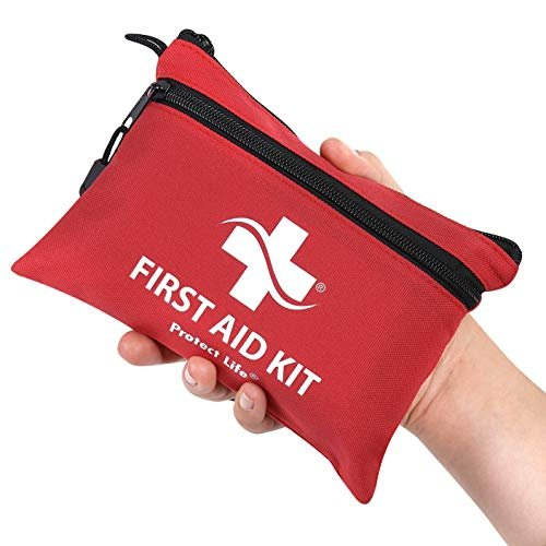 Compact first aid kit with bandages, antiseptic and more