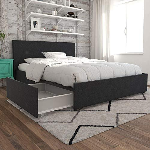 Modern bed frame with large drawers