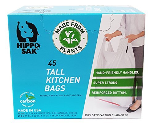 Plant-based kitchen bags with handles