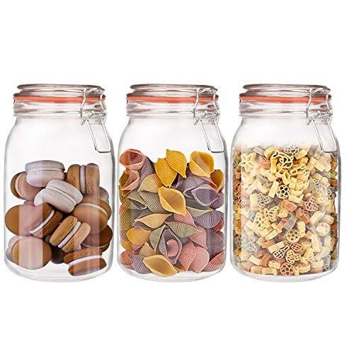 Encheng 50 oz leakproof, airtight mason jars (set of three)