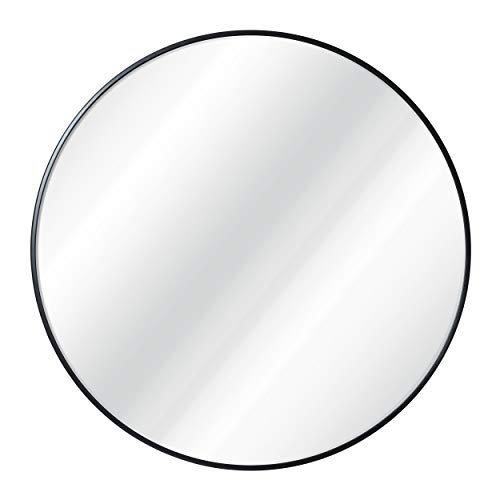 Black circle wall mirror