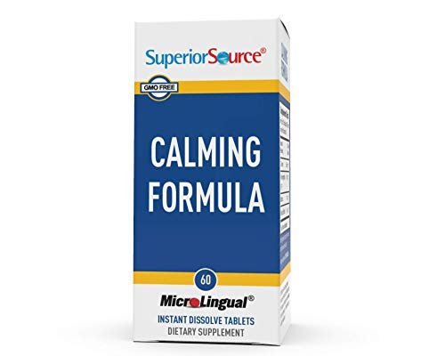 Superior Source Calming Formula, L-Theanine, Melatonin, Under The Tongue Quick Dissolve Sublingual Tablets, 60 Ct, 5-HTP for Enhanced Serotonin Conversion, Positive Mood and Sleep Support, Non-GMO