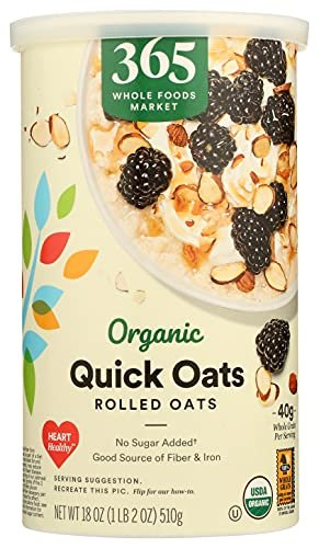 365 by Whole Foods Market, Organic Hot Cereal, Quick Oats Rolled Oats , 18 Ounce