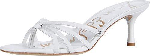 Bright white heeled sandals