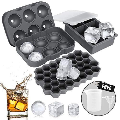 Silicone Ice Cube Trays, Sphere, Cube and Honeycomb