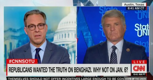 Jake Tapper Presses GOP Rep. Who Voted Against Creating 1/6 Commission: You Supported Select Committee on Benghazi