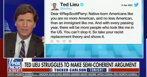 Tucker Carlson Laughs at Ted Lieu Replacement Theory Tweet
